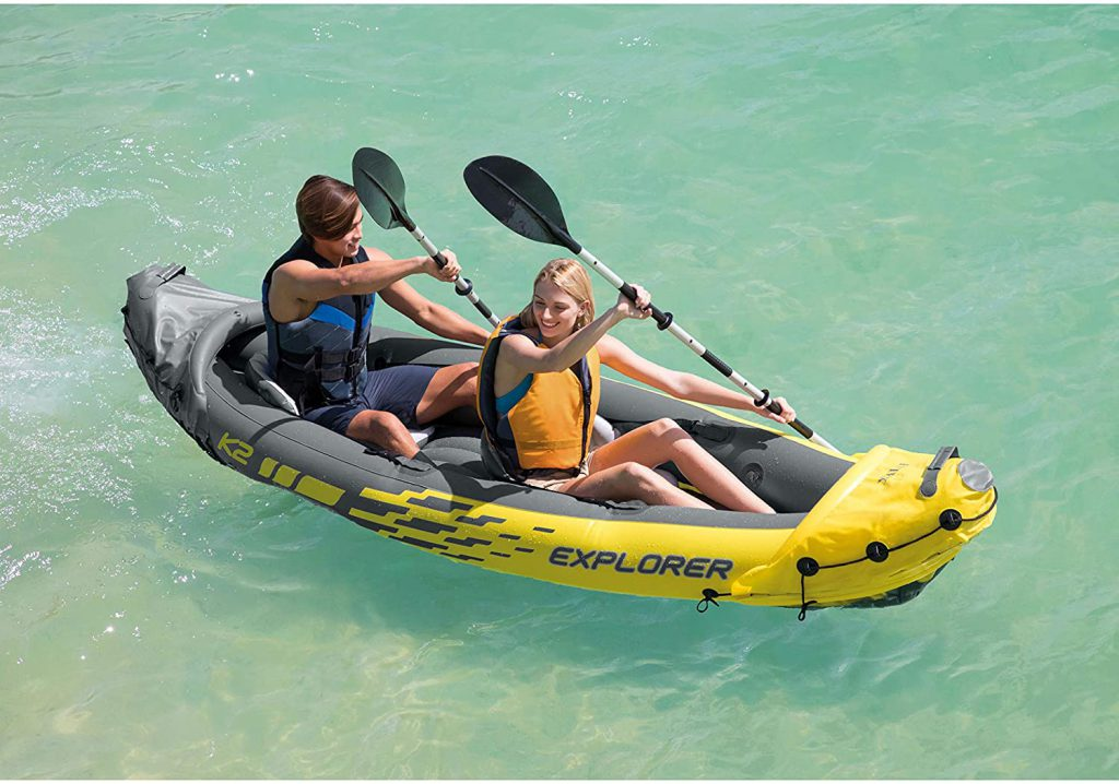 paddling in inflatable kayak